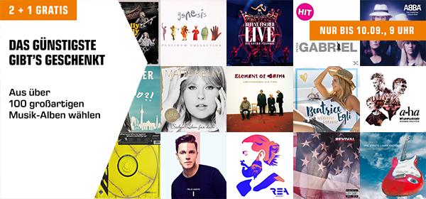 2+1 Gratis: 2 Musik-Alben kaufen und 1 Gratis erhalten