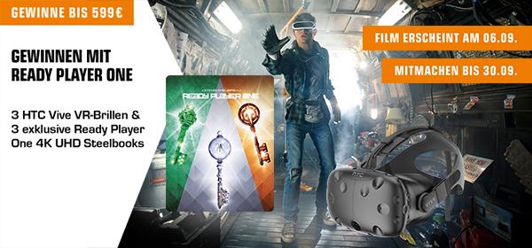 Gewinne mit Ready Player One 3 HTC Vice VR-Brillen & 3 exclusive Steelbooks