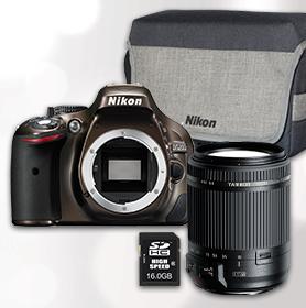 NIKON D5200 + TAMRON Objektiv 18-200 II VC + Tasche + SD Karte für 549 €