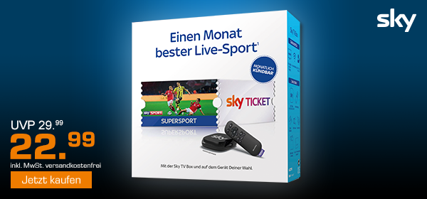 SKY TV Box inkl. 1 Monatsticket Sky Supersport für 22.99